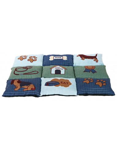Almofada Patchwork 80x55Cm Azul / Verde Trixie Cama para cães