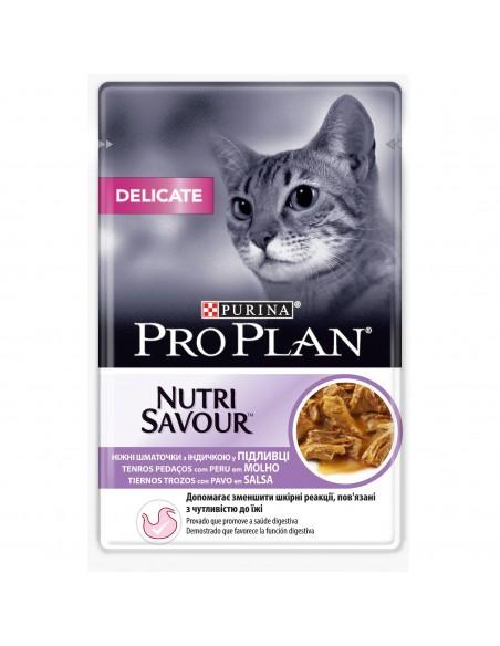 Purina PRO PLAN Nutrisavour Adult Delicate com Peru Pro plan Alimentação Húmida para Gatos