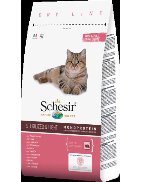 Schesir Dry Line Gato Sterilised e Light com Presunto