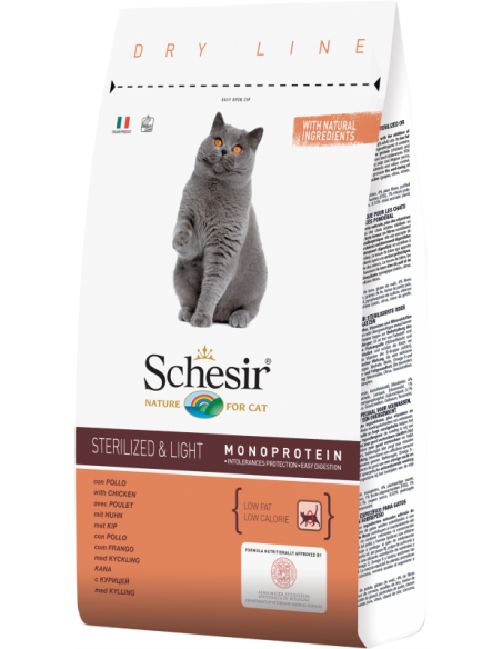 Schesir Dry Line Gato Sterilised e Light com Frango