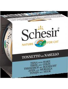 Schesir Lata para Gato Atum com Pescada 0.85gr Shesir Alimentação Húmida para Gatos