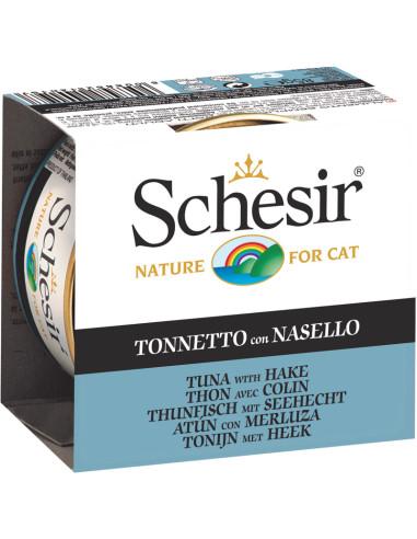 Schesir Lata para Gato Atum com Pescada 0.85gr | Comida Húmida para Gatos | Shesir