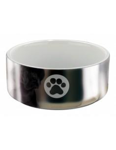 Gamela em Cerâmica (cor: prata/branco) | Comedouro para Cães | Trixie
