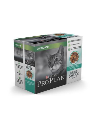 Purina Pro Plan Nutrisavour Sterilised Peixe do Oceano 10 x 85gr Pro plan Alimentação Húmida para Gatos