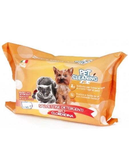 Toalhetes Limpeza Cães e Gatos Clorexidina 40 Unidades