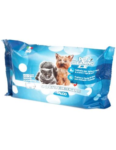 Toalhetes de Limpeza Cães e gatos Talco 40 Unidades Cães