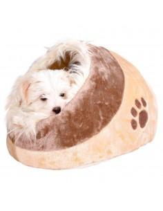 Cama para Cães/Gatos Igloo Minou em Pelúcia Bege e Castanho Trixie Camas para cães