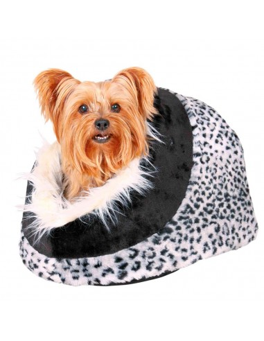 Cama para Cães Igloo Minou em Pelúcia Padrão Leopardo Trixie Camas para cães