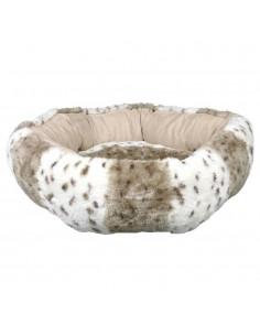 Cama para Gato em Pelúcia Leika Bege e Branco Trixie Camas para Gatos