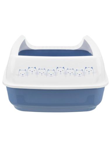 Caixa de Areia para Gatos Bandeja com Rebordo Delio Azul e Branco   Caixa de areia para gatos   Trixie