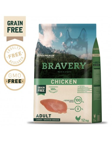 Bravery Chicken Adult Large/Medium 4 Kg Bravery Ração Seca para Cães
