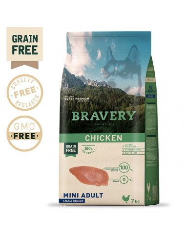 Bravery Chicken Mini Adult Small 7 Kg | Ração Seca para Cães | Bravery