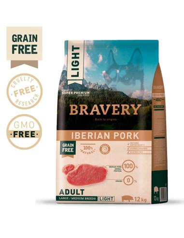 Bravery Ib. Pork Adult Med/Large (Light) 12 Kg | Ração Seca para Cães | Bravery