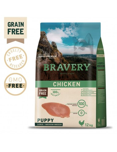 Bravery Chicken Puppy Large/Medium 12 Kg Bravery Ração Seca para Cães
